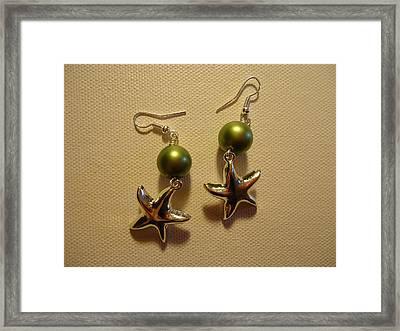 Green Starfish Earrings Framed Print