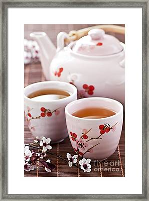 Green Tea Set Framed Print