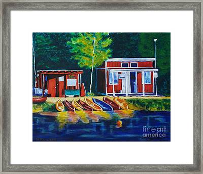 Green Valley Lake Boat House Framed Print
