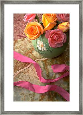 Green Vase With Roses Framed Print by Garry Gay