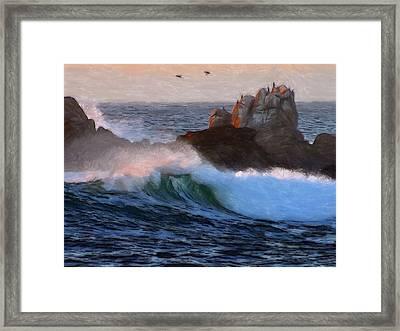 Green Waves Pastel Framed Print by Steve K