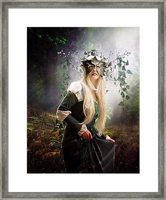 Green Woman Framed Print by Mary Hood