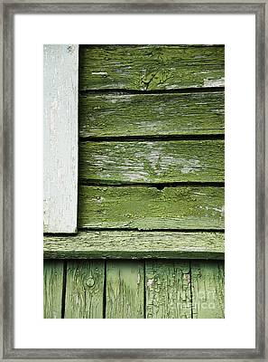 Framed Print featuring the photograph Green Wooden Wall by Agnieszka Kubica