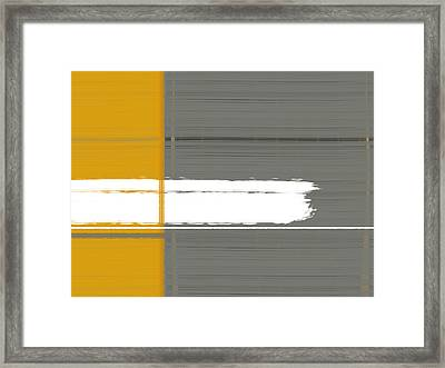 Grey And Yellow Framed Print by Naxart Studio