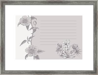 Grey Floral Card Framed Print by Dana Vogel