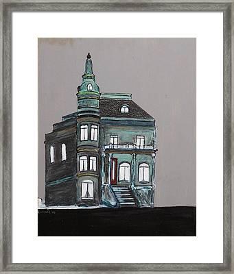 Grey Victorian Mansion-montreal Framed Print