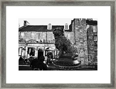 Greyfriars Bobby Statue In Front Of The Bar Candlemaker Row Edinburgh Framed Print by Joe Fox