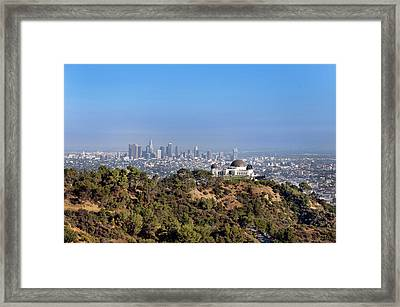 Griffith Park Observatory And Downtown Los Angeles Framed Print by Mark Harris