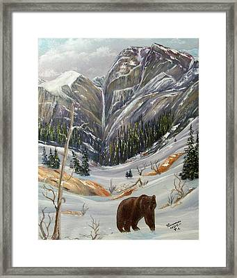 Framed Print featuring the painting Grizz by Al  Johannessen