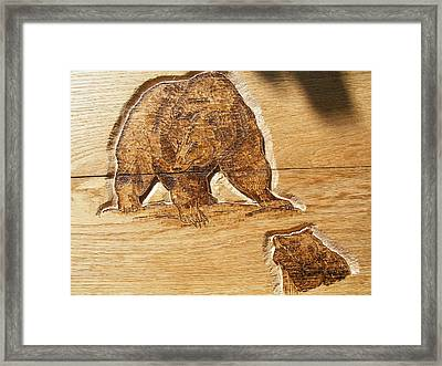 Grizzly Bear-1-wood Carving Pyrography Framed Print by Egri George-Christian