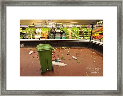 Grocery Store Produce Aisle After Hours Framed Print by David Buffington