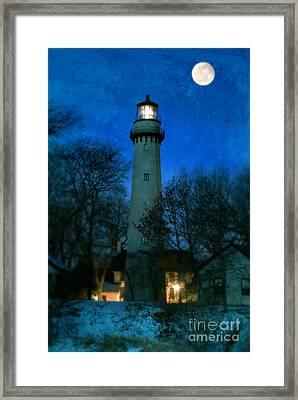 Grosse Point Lighthouse Before Dawn Framed Print by Jill Battaglia