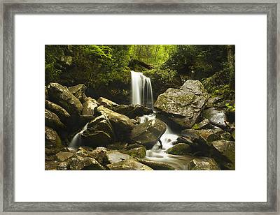 Grotto Falls - Smoky Mountains Framed Print by Andrew Soundarajan