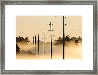 Ground Fog With High Wires Framed Print by Bruce Kenny
