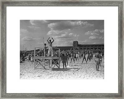Group Of People Exercising On Beach, (b&w) Framed Print by George Marks