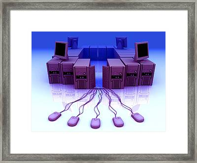 Group Of Personal Computers Framed Print by Christian Darkin