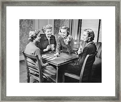 Group Of Women Playing Cards Framed Print by George Marks