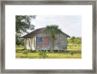 Grove Shack With Flag Framed Print by Bradford Martin