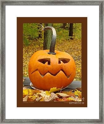 Framed Print featuring the photograph Grumpy Pumpkin by Patricia Overmoyer