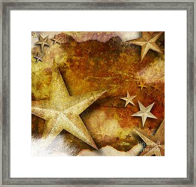 Grunge Golden Sparkle Star Background Framed Print by Angela Waye
