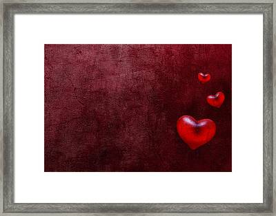 Grunge Hearts Framed Print by Laura Melis
