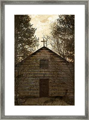 Grungy Hand Hewn Log Chapel Framed Print by John Stephens