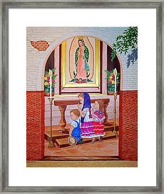 Guadalupe Y Ninos Framed Print by Evangelina Portillo