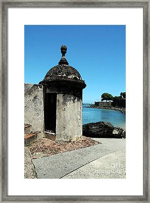 Guard Post Castillo San Felipe Del Morro San Juan Puerto Rico Watercolor Framed Print by Shawn O'Brien
