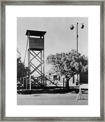 Guard Tower And Lights At Fresno Framed Print by Everett