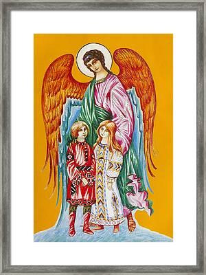 Guardian Angel For Children Framed Print