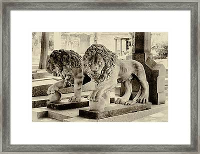 Guardians Of The Tomb In Sepia Framed Print by Tony Grider