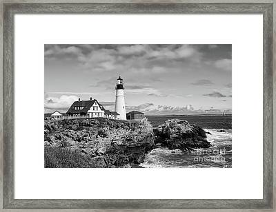 Guarding Ship Safety Bw Framed Print