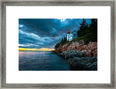 Guiding Light Of Acadia Framed Print by Bernard Chen