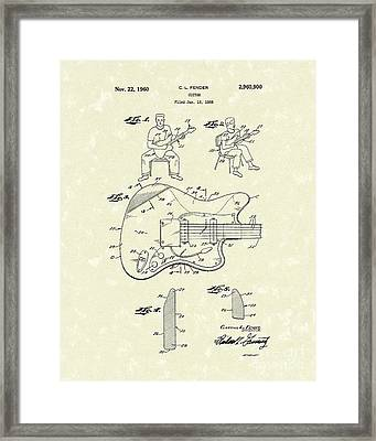 Guitar 1960 Patent Art Framed Print by Prior Art Design