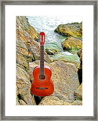 Guitar By The Sea Framed Print by Jason Abando