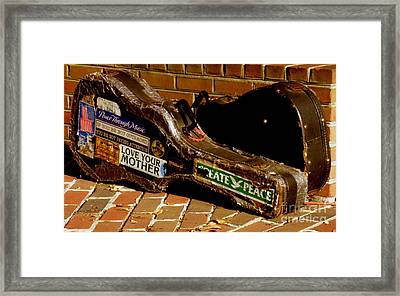 Framed Print featuring the photograph Guitar Case Messages by Lainie Wrightson