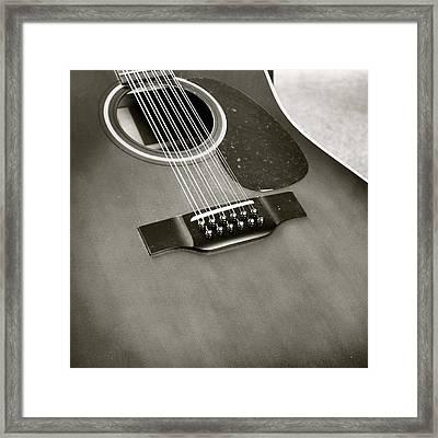 Guitar In Black And White Framed Print