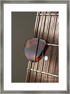 Guitar Neck Frets And Pick Framed Print by Gordon Wood