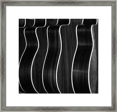 Guitar Patterns Black & White Framed Print