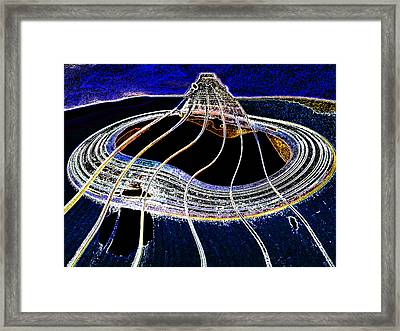 Guitar Warp Glowing Edges Framed Print by Anne Mott