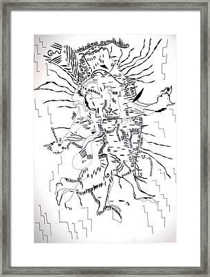 Framed Print featuring the drawing Gule Wamkulu - Malawi by Gloria Ssali