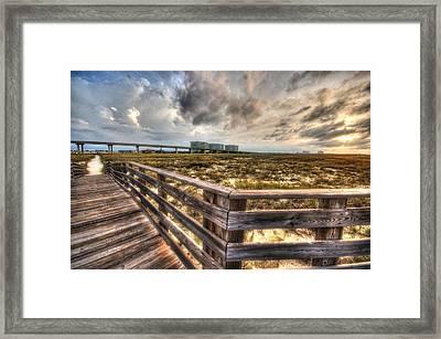 Gulf State Park Boardwalk Corner Framed Print by Michael Thomas