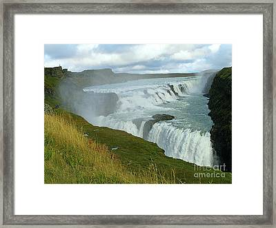 Framed Print featuring the photograph Gullfoss Waterfalls  Iceland by Louise Peardon