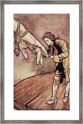 Gulliver In Brobdingnag Kissing The Hand Of The Queen Framed Print by Arthur Rackham