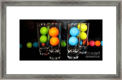 Gumballs In Shot Glasses Framed Print