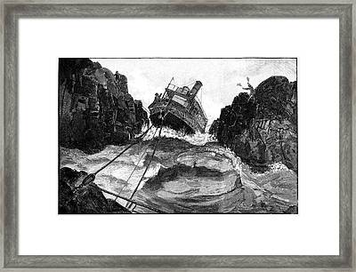 Gunboat On Nile Rapids, 19th Century Framed Print by
