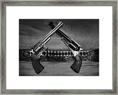 Guns In Black And White Framed Print by Kristin Elmquist