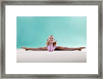Gymnast, Smiling, Side Split, Head On Hands Framed Print by Emma Innocenti