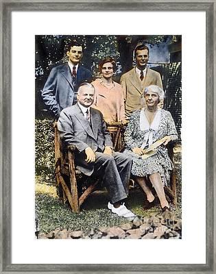 H. Hoover And Family Framed Print by Granger