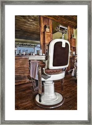 H J Barber Shop Framed Print by Susan Candelario